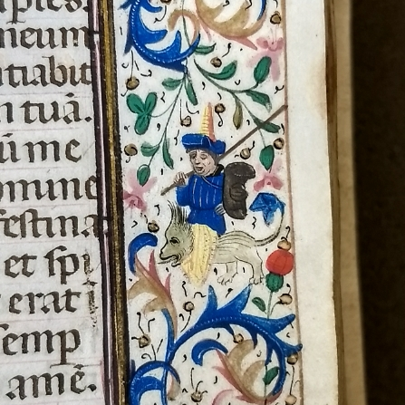 Detail of a hybrid figure from the margins of a Hargret Library manuscript